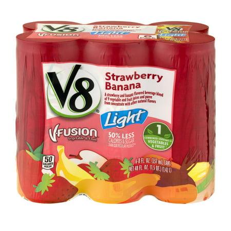 V8 V Fusion Light Strawberry Banana   6 Pk  8 0 Fl Oz