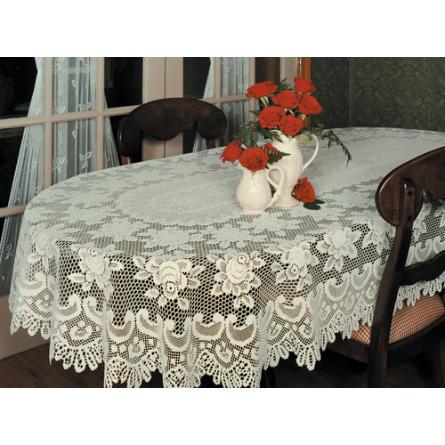 Heritage Lace Rose Oval Tablecloth