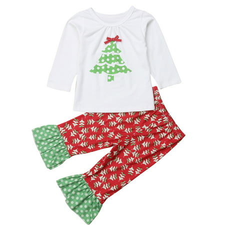 Baby Kid Girls Christmas Outfits Long Sleeve Xmas Tree T-shirt With Flare Pant 6-12 Months