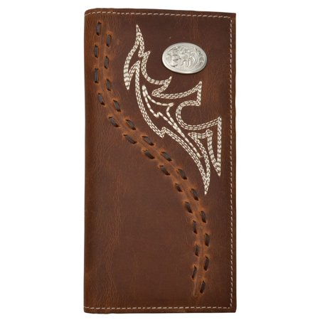 3D Western Wallet Mens Rodeo Lacing Piping Checkbook Brown W262 Rodeo Checkbook Wallet