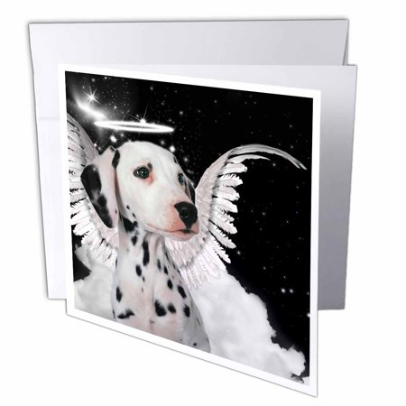 3dRose Dalmatian Angel Dog with clouds, a cute Halo and Angel Wings, Greeting Cards, 6 x 6 inches, set of 12](Halos And Wings)