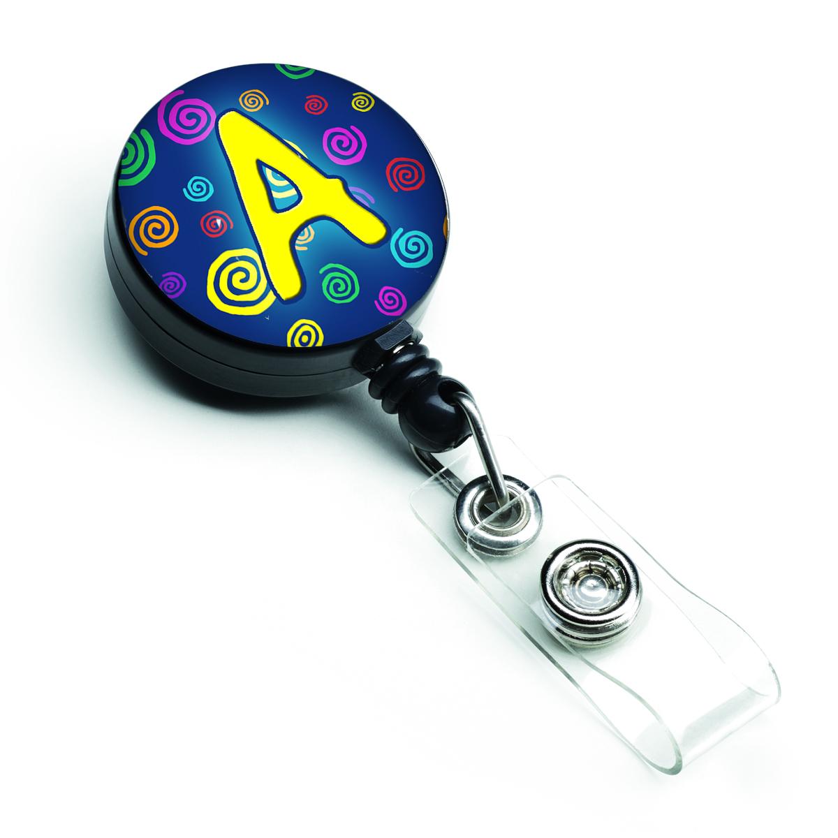 Letter A Monogram - Blue Swirls Retractable Badge Reel CJ1011-ABR