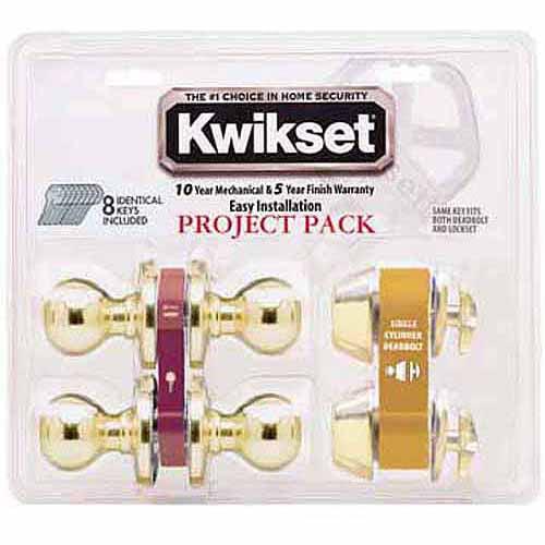 Kwikset 92420-031 Bright Brass Tylo Knob Entry Lockset and Deadbolt
