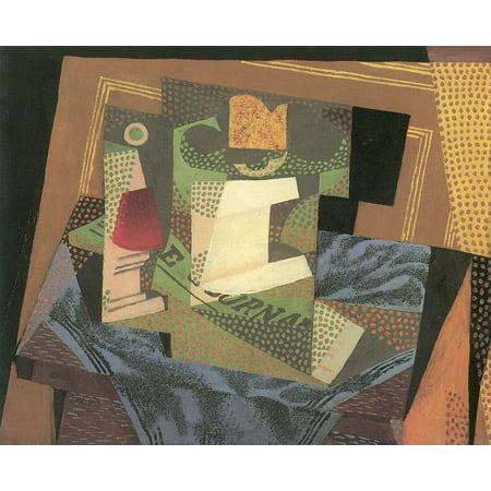Framed Art for Your Wall Gris, Juan - Fruit bowl on a table cloth 10 x 13 Frame