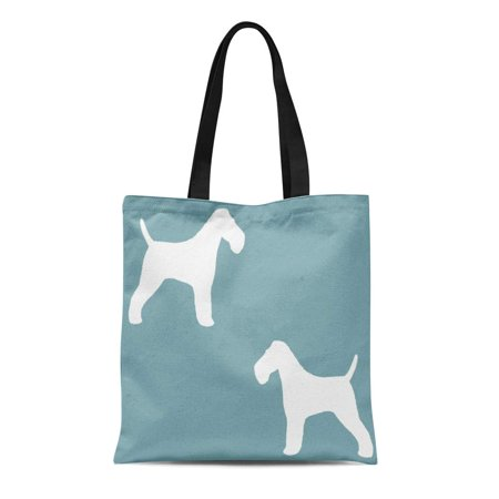 ASHLEIGH Canvas Tote Bag Coated Wire Fox Terrier Silhouettes Dog Pets Silouette Reusable Handbag Shoulder Grocery Shopping Bags