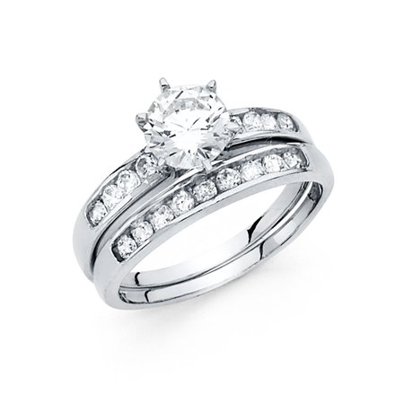 14K Solid White Gold 1.50 cttw Cubic Zirconia Wedding Engagement 2 Piece Bridal Ring Set, Size 4.5