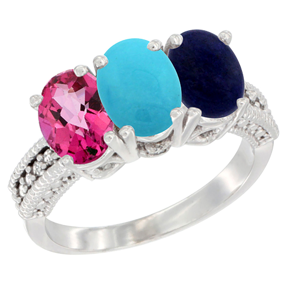 14K White Gold Natural Pink Topaz, Turquoise & Lapis Ring 3-Stone 7x5 mm Oval Diamond Accent, sizes 5 10 by WorldJewels