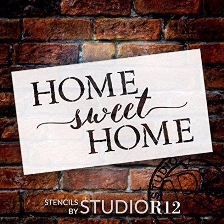 Home Sweet Home Word Stencil by StudioR12 | Charming Rustic - Reusable Mylar Template | Painting, Chalk, Mixed Media | DIY Home Decor - STCL1749_1 | SELECT SIZE | (11
