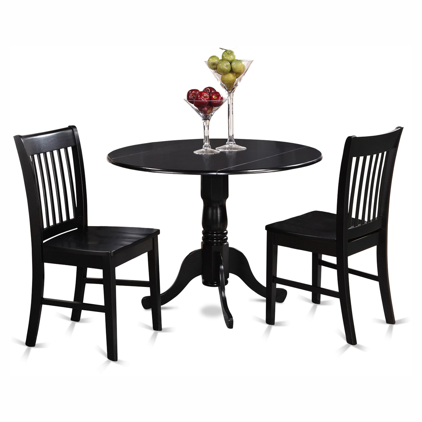 East West Furniture Dublin 3 Piece Round Dining Table Set with Norfolk Wooden Seat Chairs