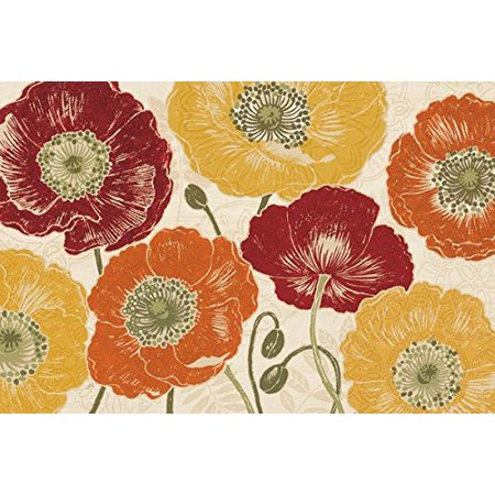 Beautiful Poppy (Beautiful Red Orange and Yellow Floral Poppy Print by Daphne Brissonnet; One 18x12in Poster Print)