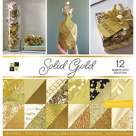 "DCWV Double-Sided Cardstock Stack 12""X12"" 36/Pkg Solid Gold W/Gold Foil"