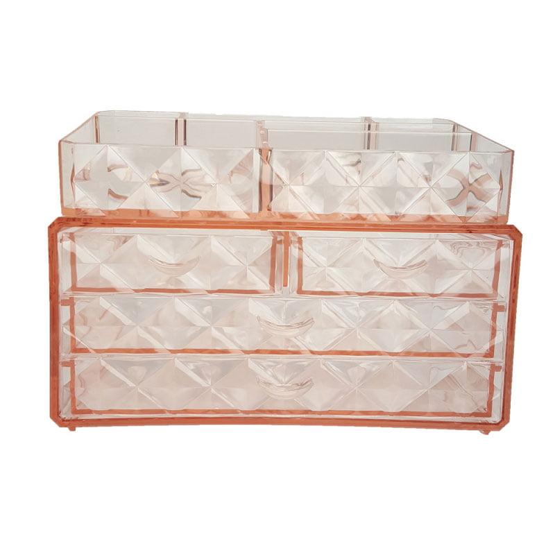 3 Tiers 4 Drawers Acrylic Jewelry & Cosmetic Storage Display Box Orange by