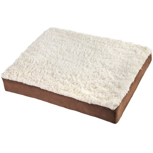 "OxGord Ultra Plush Delux Orthopedic Pet Bed, Small, 20""x15"", White/Brown"