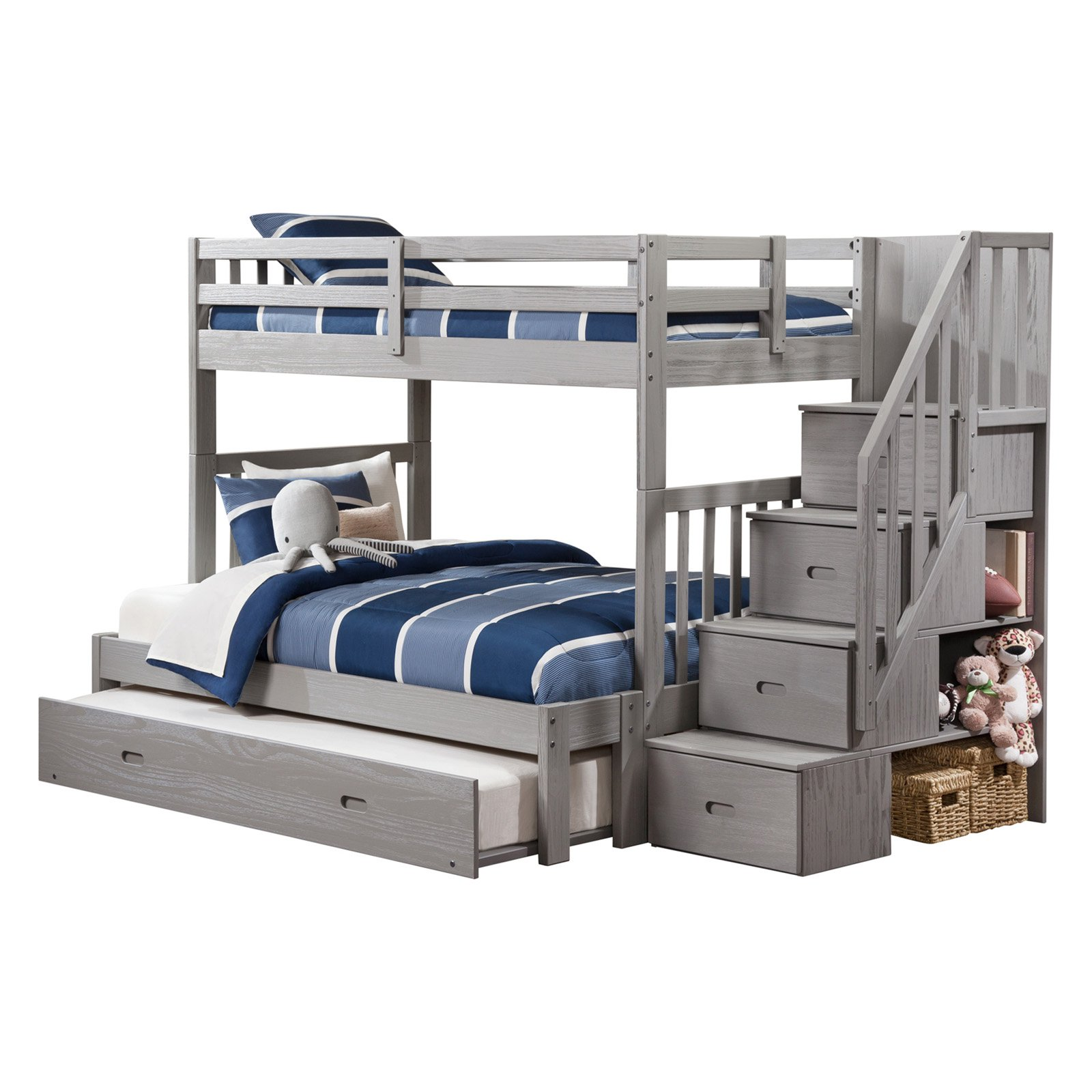 Cascade Staircase Bunk Bed Twin Over Full In Brushed Gray Walmart Com Walmart Com