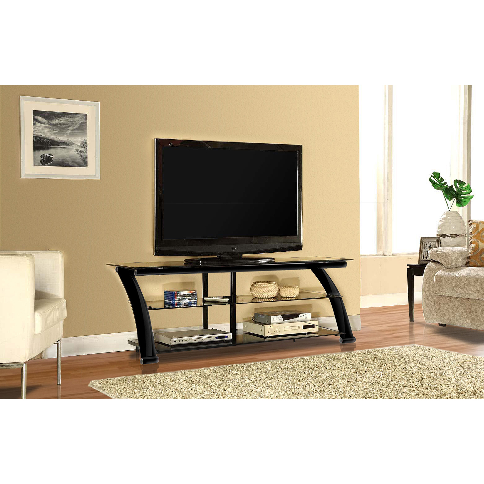 Innovex Nexus Glass Black TV Stand for TVs up to 65""