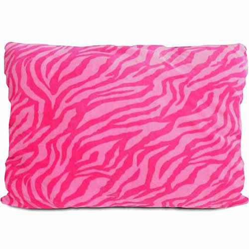"""20"""" x 26"""" Royal Plush Pillow, Pink/Pink Zebra"""