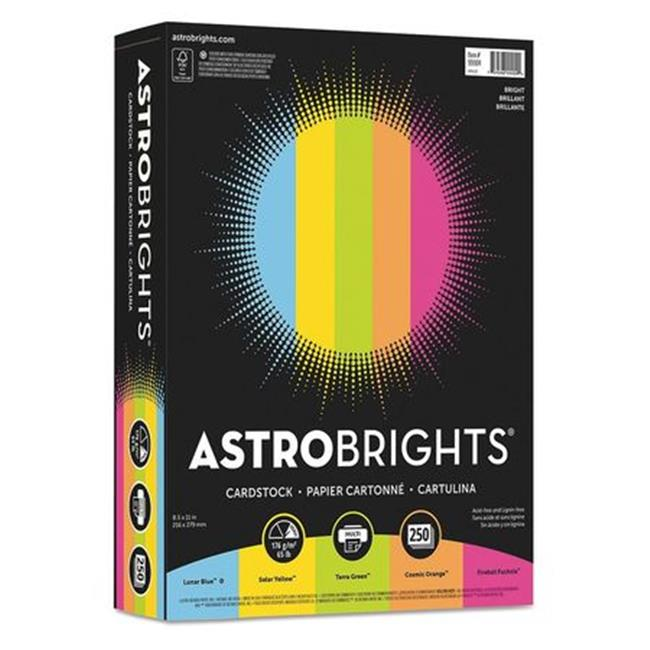 Wausau Papers 99904 8.5 x 11 in. Color Cardstock Bright Assortment - Multicolor, 65 lbs - 250 Sheets