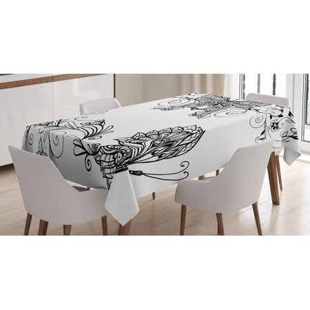 Horse Table Decorations (House Decor Tablecloth, Butterfly Floral Mandala Patterns Bohem Decorations Butterfly Wings Picture, Rectangular Table Cover for Dining Room Kitchen, 60 X 84 Inches, Black White, by)