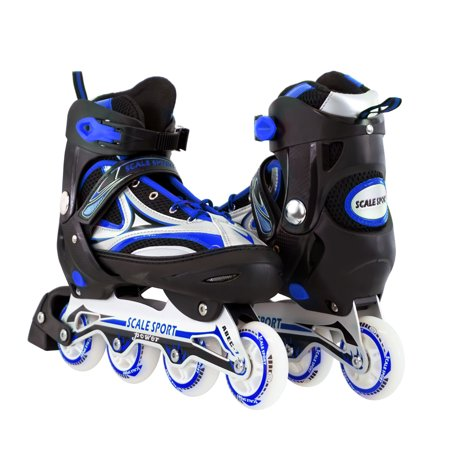 In Line Speed Skating Wheels (Size 8-11 Adjustable Inline Skates for Adults, Blue)