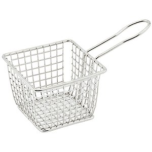 Winco FBM-554S, 5x5x4-Inch Stainless Steel Square Mini Deep Fry Serving Basket