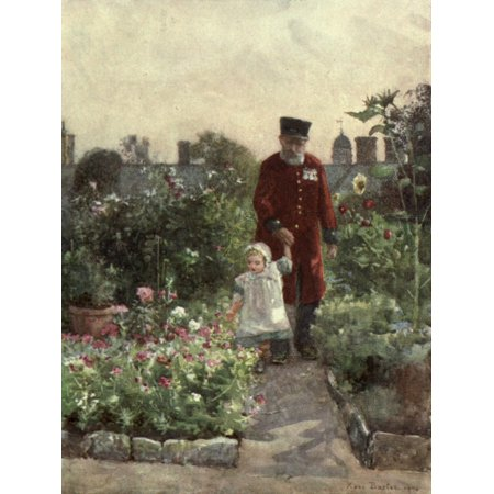 Familiar London 1904 Garden Royal Hospital Chelsea Canvas Art - Rose Barton (24 x 36)