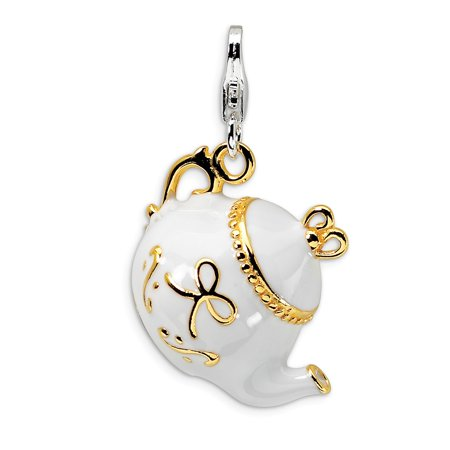 Roy Rose Jewelry Sterling Silver Amore la Vita Gold-plated WhiteEnameled Tea Pot w/Lobster Clasp -