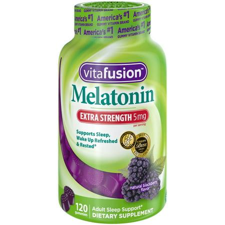 Vitafusion Extra Strength Sleep Support Melatonin Gummies, Blackberry, 5mg, 120