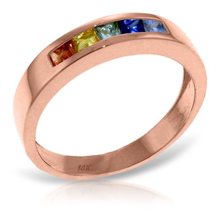 ALARRI 0.6 Carat 14K Solid Rose Gold Rings Natural Multicolor Sapphire With Ring Size 9. ()