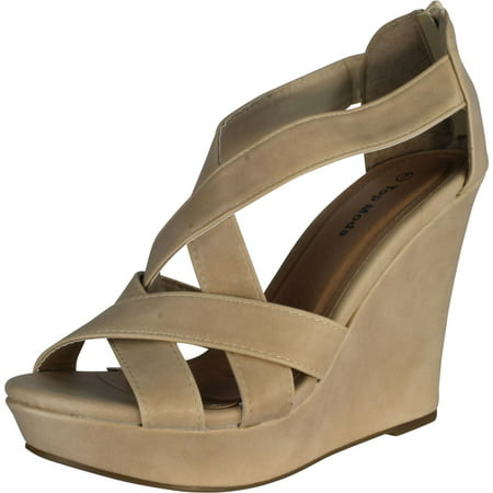 Top Moda ELLA-18 Womens Gladiator Wedge Heel - Gladiator Wedge Sandal