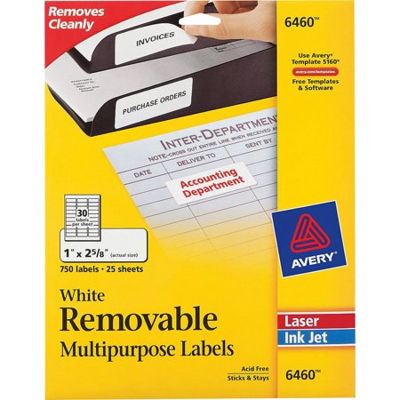 Avery Removable Multi-Purpose ID Labels, 1 x 2.63 in., White, 750 Count (6460)