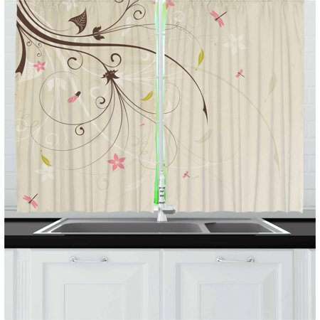 Spring Bouquet Window Windows (Dragonfly Curtains 2 Panels Set, Spring Field Bouquet Shabby Chic Abstract Blossom Greenland Graphic Art, Window Drapes for Living Room Bedroom, 55W X 39L Inches, Tan Brown Pale Pink, by)