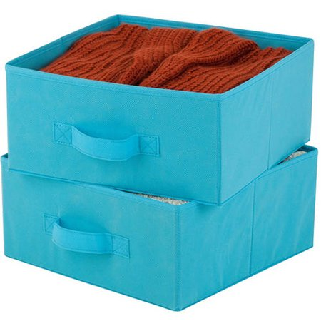 Honey Can Do Non-Woven Storage Drawers with Handles, Ocean Blue (Pack of 2)