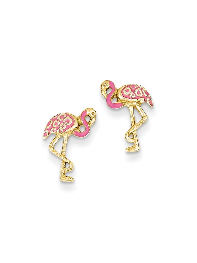 ICE CARATS ICE CARATS 14kt Yellow Gold Pink Enameled Flamingo Post Stud Ball Button Earrings Animal Bird Travel Fine... by IceCarats Designer Jewelry Gift USA