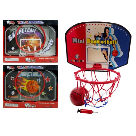 Outdoor Fun and Activities Mozlly My Basketball Wall Hoop with Ball and Pump, Colors May