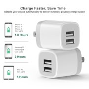 USB Wall Charger,2-Pack 3.1A Dual Port USB Cube Power Adapter Wall Charger Plug Charging Block Cube for Phone 8/7/6 Plus/X, Pad, Samsung Galaxy S5 S6 S7 Edge,LG, ZTE, HTC, Android (White)