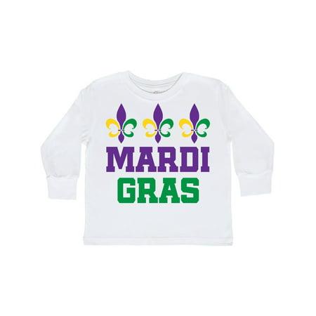 Rhinestone Fleur De Lis Tee - Mardi Gras Fleur de Lis trio Toddler Long Sleeve T-Shirt