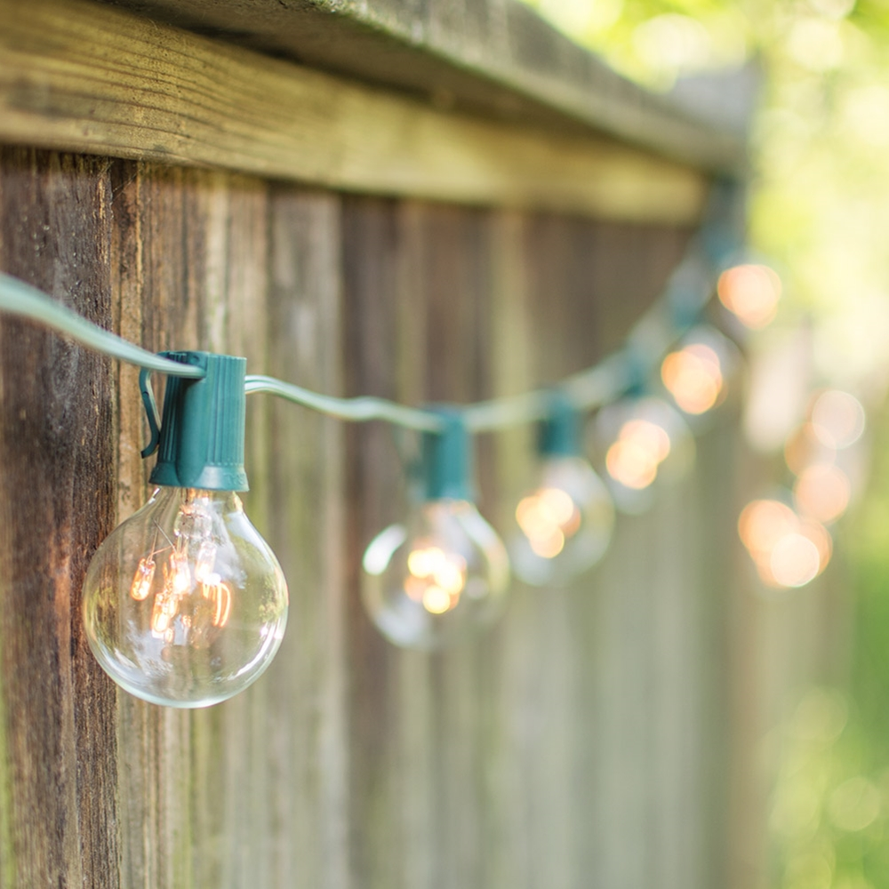 Outdoor String Lights Globe String Lights 2 Inch E17 Bulbs with Rice Lights 100 Foot Green Wire Clear by LSD