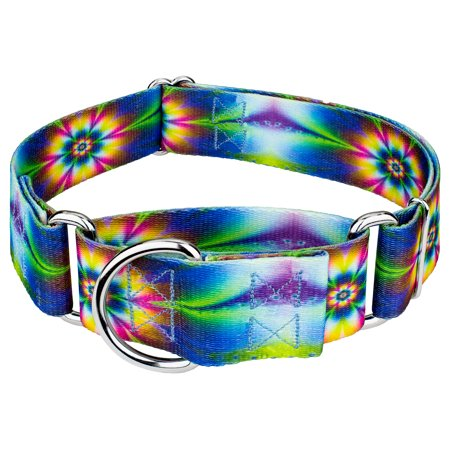 Country Brook Petz | 1 1/2 Inch Tie Dye Flowers Martingale Dog Collar