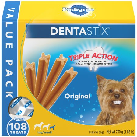 Pedigree Dentastix Toy/Small Dental Dog Treats, Original, 1.68 Lbs. Value Pack (108 (Best Value Pet Supplies Coupon)