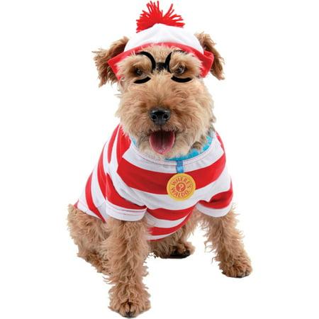 Waldo Hat And Glasses (Morris Costumes Where's Waldo Dog Stripe Shirt Hat And Glasses Kit S, Style)