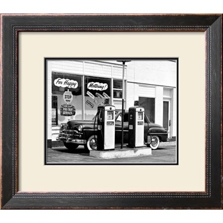 Happy Motoring Gas Station Framed Giclee Print Wall Art  - 21x21