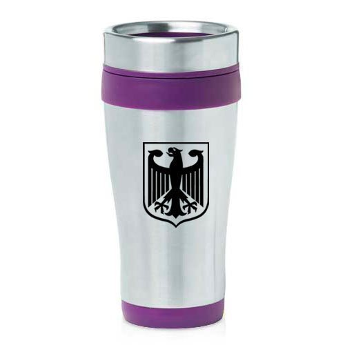 16oz Insulated Stainless Steel Travel Mug Coat of Arms Germany Eagle (Purple),MIP by