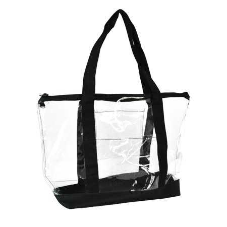 DALIX Clear Transparent Shopping Bag Security Work Tote (Zippered) in Black