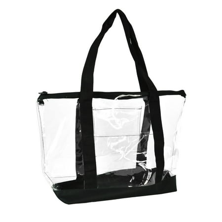 DALIX Clear Transparent Shopping Bag Security Work Tote (Zippered) in Black - Sturdy Tote Bags