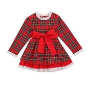 Binpure Little Girl's Plaid Dress Holiday Themed Long Sleeve Lace Dress Elastic Waist Skirt with a Bow