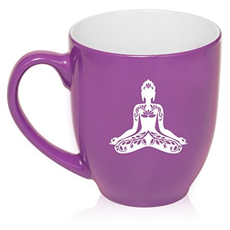 (16 oz Large Bistro Mug Ceramic Coffee Tea Glass Cup Buddha Yoga Lotus (Purple))