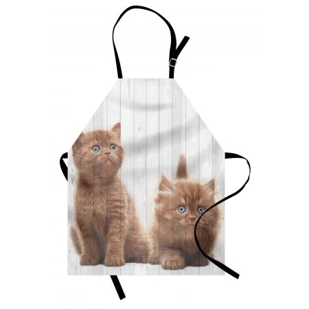 Animal Apron Cute Kittens Baby Cats Sweet Feline Kids Nursery Child Kitty Theme Artwork Print, Unisex Kitchen Bib Apron with Adjustable Neck for Cooking Baking Gardening, Caramel White, by Ambesonne