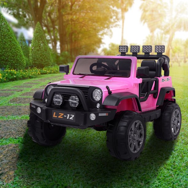 Remote Control Kids Electric Car 12v Battery Powered Electric Ride On Jeep Car For Kids 4 Wheel Motorized Cars With Remote Control Led Light Music For 3 8 Year Old Kids Pink A360 Walmart Com Walmart Com