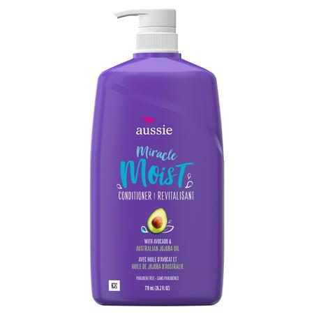Aussie Miracle Moist with Avocado & Jojoba Oil, Paraben Free Conditioner, 26.2 fl oz Cellular Skin Conditioner