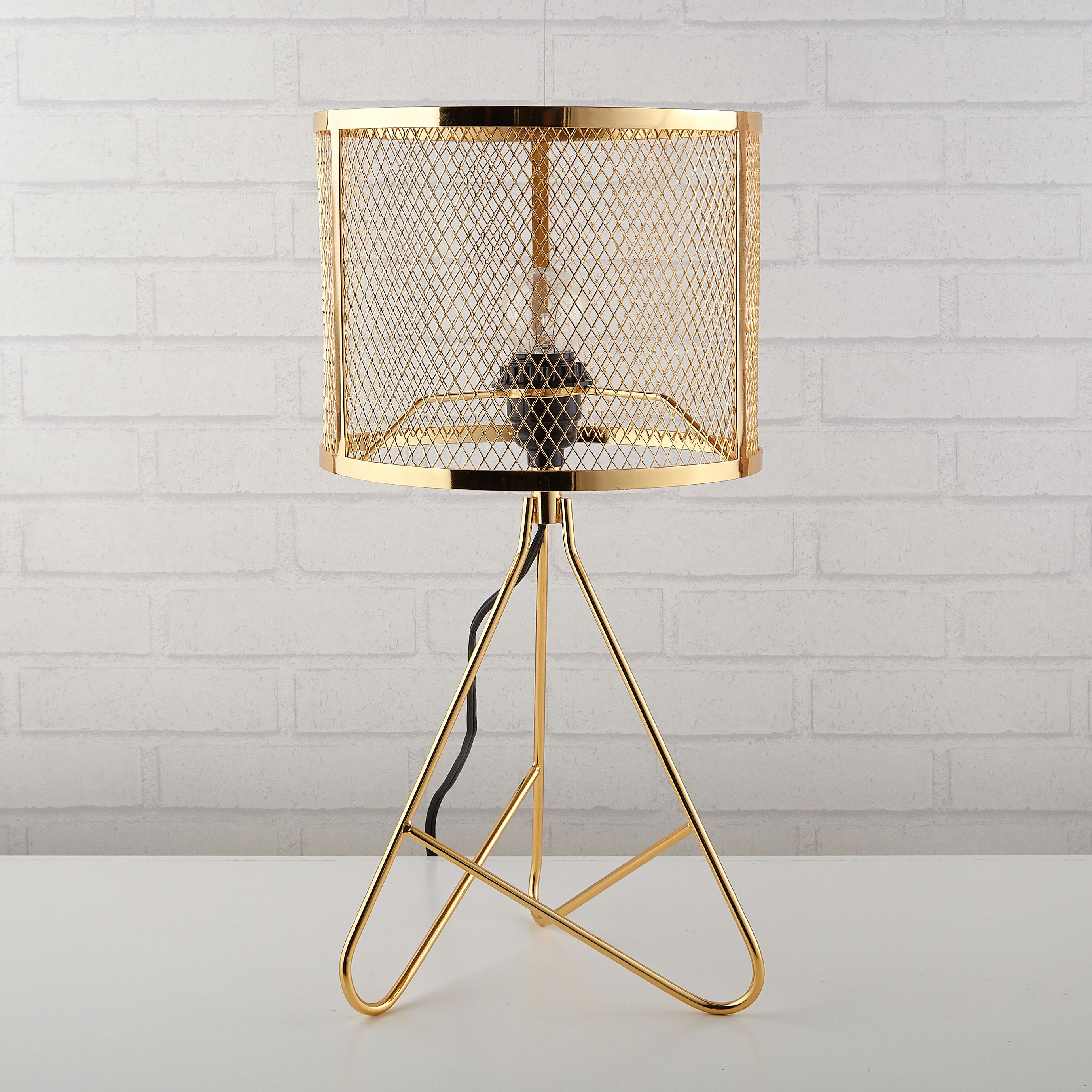 Better Homes And Gardens Perforated Gold Metal Tripod Lamp